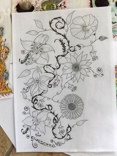 my daughters flowers on fast ;)  - Creative Art in Painting by Paula Wawrzynek in Portfolio my fast drawings  sketches at Touchtalent
