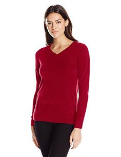 Sag Harbor Womens Long Sleeve Ideal VNeck Pullover Cashmerlon Sweater Scarlet XLarge -- Check out this great product.