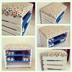 Imágenes y consejos geniales para poner orden en casa y aprovechar los muebles … Images and great tips to put order at home and make the most of the furniture. Pallet Projects, Home Projects, Diy Pallet, Pallet Ideas, Diy Rangement, Diy Home Decor, Room Decor, Diy Casa, Wooden Crates