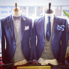 Royal blue slim fit 3 piece suits with contrasting grey waistcoats aka Roberto Blue