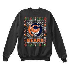 Chicago Bears x Grateful Dead Christmas Ugly Sweater - Potatotee Store  potatotee.com/ #ChicagoBears #Christmas #GratefulDea