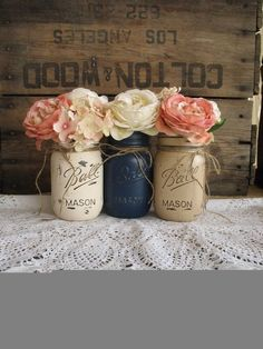 Mason Jars, Painted Mason Jars, Rustic Wedding Centerpieces, Baby Shower Decorations, Navy Blue, Tan And Creme Mason Jars