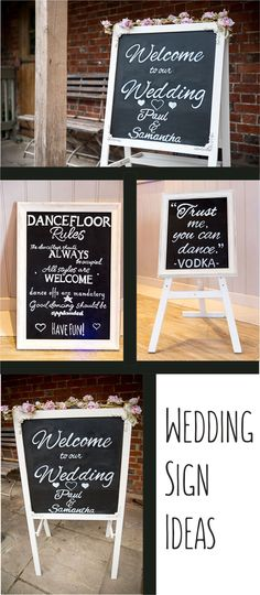 Wedding Signs for your special day - rustic wooden wedding signs - chalkboard wedding signs for your rustic wedding. Dancefloor rules sign welcome sign and Trust me you can dance vodka sign :) #rusticwedding #weddingsigns