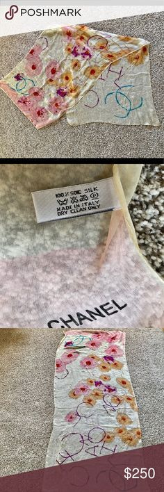 last minute gift ❤️ nwot Chanel scarf with box Guaranteed Christmas arrival!! Beautiful, authentic, 100% silk Chanel scarf in perfect condition. Comes with a gift box and Chanel card. It would make a wonderful gift!  Please note there is one small catch but it's not noticeable when worn- this is delicate silk and it's from handling, not wear.   170cm x 70cm CHANEL Accessories Scarves & Wraps