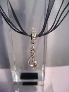 Treble Clef Ribbon Necklace