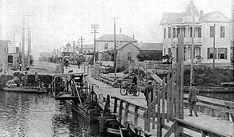 Grade Raising of Galveston, Wooden bridge over the canal at Street 1900 Galveston Hurricane, Texas Hurricane, Galveston Texas, Galveston Island, Texas City Explosion, Texas Texans, Country Music Concerts, San Francisco Earthquake
