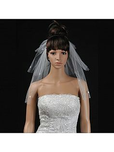 Ivory 3 Tiers Shoulder Length Voile Wedding Veil with Applique - USD $10.99