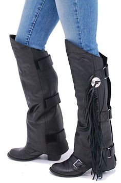 Fringed Leather Half Chaps