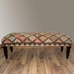 @Overstock.com - This handmade bench is upholstered with a finely woven Kilim rug. This attractive furniture will accent your home with ease.   http://www.overstock.com/Home-Garden/Hand-upholstered-Country-Multi-Wood-Bench/6836235/product.html?CID=214117 $409.99