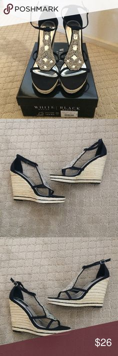 "WHBM ""Lola"" Wedge Sandals Size 10 NIB So pretty and glittery, these will be your go-to holiday sandals. 5"" Wedge heel. New in box. White House Black Market Shoes Wedges"