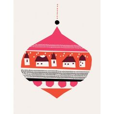 Christmas Village Christmas card by Darling Clementine