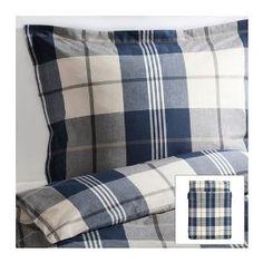 Amazon.com: Ikea Kustruta Queen 3pc Blue Brown White Plaid Duvet Quilt Cover: Home & Kitchen