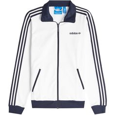 Adidas Originals Track Jacket ($78) ❤ liked on Polyvore featuring men's fashion, men's clothing, men's activewear, men's activewear jackets and white