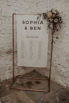 Romantic Pink and Gold Wedding Inspiration in a Modern Summer House Copper Frame Flag Table Plan with Floral Decor Romantic Pink and Gold Wedding Inspiration in a Mode. Gold Wedding Gowns, Pink And Gold Wedding, Copper Wedding, Wedding Fabric, Floral Wedding, Seating Plan Wedding, Wedding Signage, Wedding Table, Seating Plans