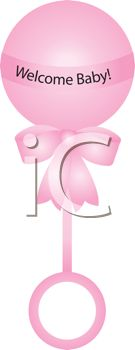 Royalty Free Clipart Image of a Pink Baby Rattle