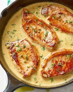 Easy Creamy Mustard Pork Chops Recipe. These start on the stovetop in a skillet and end up baked in the oven. This healthy recipe is great if you need ideas for comfort foods to serve for weeknight dinners and meals. Easy to make and features boneless pork chops, onion, thyme, white wine, apple juice or cider, dijon mustard and heavy cream.