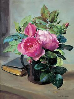 "Reproduced from the original oil painting of Anne Cotterill, this greetings card captures the formal beauty of roses as they are placed in a black jug accompanied by a leather prayer book on a stone shelf.  A fine art card that is 6"" x 8"" approx. (15cm x 20cm). Still Life of Opening Roses.  Available as a Blank Card or as a Birthday card (message inside ""Happy Birthday"").    Anne Cotterill Flower Art"