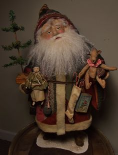 Handmade Santa Claus ~Doll & Teddy Bear By Kim Sweet~Kim's Klaus~1850's Quilt~Antique Sleigh Bell~Antique Ginger Tin~Tiny Vintage Gingerman cookie cutter~Handmade Skinny Tree~handmade Game~Handmade Stocking & Candy Canes~on Ebay 10/28/15~Ooak Kim's Klaus 2015 Vintage Antique Folk Art Doll