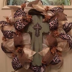 Beautiful Cross Mesh Wreath