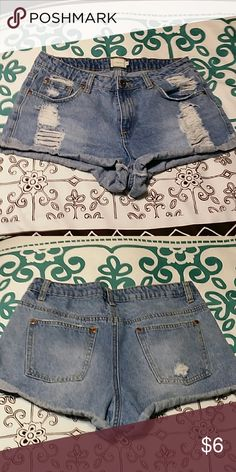 Distressed Daisy Dukes Not sure is these actually classify as daisy dukes, but they are short. But they're way cute too!  Size Medium . timing Shorts Jean Shorts