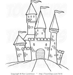 Castle, cartoon-like. White Line Drawing of a Path Leading to a Castle by Ron Leishman Black And White Cartoon, Black And White Lines, White Art, Castle Coloring Page, Coloring Pages, Castle Drawing Easy, Disney Castle Drawing, Drawing For Kids, Line Drawing
