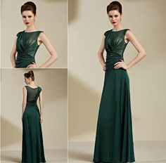 2015 New Style New Arrival Evening Dresses Emerald Green Chiffon Capped Sleeves Sequins Formal Gowns Long Party Dress from Honey_kiss,$126.29 | DHgate.com