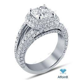 2.70 CT Cushion Cut D/VVS1 Diamond 925 Silver Halo Style Women's Engagement Ring #affoin8 #WomensHaloStyleEngagementRing