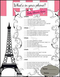 Baby Shower Game-3 Pack Paris Chic Theme by 31Flavorsofdesign
