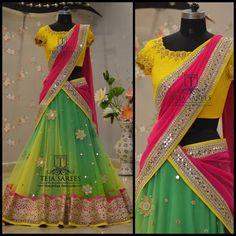 Mirror Work Half Saree by Teja Sarees - Saree Blouse Patterns Half Saree Designs, Lehenga Designs, Saree Blouse Designs, Choli Designs, Blouse Patterns, Dress Designs, Half Saree Lehenga, Anarkali Dress, Sari Dress