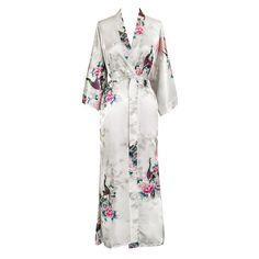 Peacock & Blossoms Kimono Robe