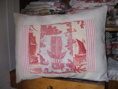 ANTIQUE FRENCH PILLOW toile de jouy french fabric