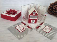 Explosionsbox zu Weihnachten,  Teelichtkarte, Geldgeschenk, Silber, rot, weiß