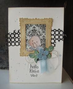 Card by DT member Boukje with Creatables Confetti (LR0342), Eline's Cubboard and Frame (LR0268) and Collectables Eline's Baby (COL1313) by Marianne Design
