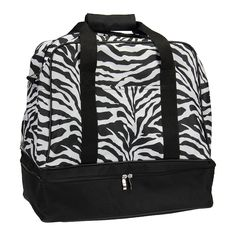 Household Essentials Zebra Print Weekender Bag with Shoe Pocket and Expandable Shoulder Strap, Black Carry On Tote, Best Carry On Luggage, Luggage Deals, Luggage Store, Luggage Accessories, Zebra Print, Traveling By Yourself, Shoulder Strap, Prints