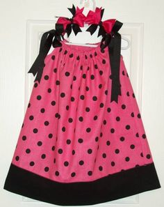 pink and black polka dot pillowcase dress with cute bows too!