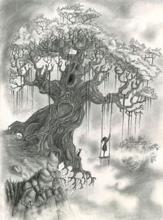 beautiful tree drawings for inspiration - hative creation art, pencil drawings, tree Amazing Drawings, Beautiful Drawings, Cool Drawings, Drawing Sketches, Pencil Drawings, Amazing Art, Drawing Tips, Tree Sketches, Sketching