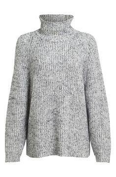 Rich marled yarns bring two-tone flair to this soft and slouchy sweater with raglan seaming and a cozy turtleneck.