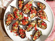 Nutritious Snack Tips For Equally Young Ones And Adults Grilled Baby Eggplants With Green Onion Salsa If You Can't Find The Type Of Eggplant We Used, Go For Small, Slender Japanese Eggplants Instead. Tailgating Recipes, Grilling Recipes, Cooking Recipes, Barbecue Recipes, Barbecue Sauce, Bbq Grill, Vegetable Recipes, Vegetarian Recipes, Vegetarian Grilling