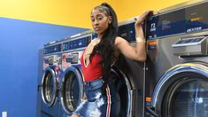 laundry mat photo shoot ideas laundry mat photo shoot  ponytail hairstyle pretty girls summer photoshoot  summer photo shoot ideas Nike air force 1 Nike Nike air forces  Jean skirt skirts