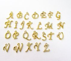 Gold Alphabet Charms Alphabet Gold Pendant with Loop by BijiBijoux