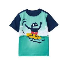 Toddler Boys Sailor Blue Monster Waves Tee by Gymboree