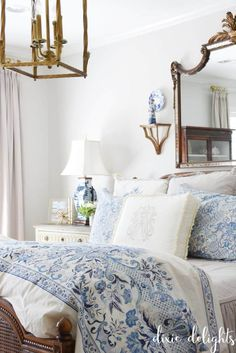 The Delightful Home {Master Bedroom} - blue + white bedroom - Cute Bedroom Decor, Romantic Bedroom Decor, Bedroom Ideas, Cosy Bedroom, Light Bedroom, Bedroom Layouts, Bedroom Lighting, Bedroom Apartment, Kids Bedroom