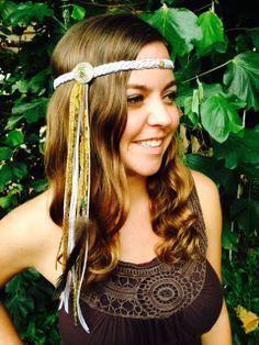 $56 Lavender Suede Braid w/ Real Feather & Gold Charm, Third Eye, Gypsy Halo Hair Accessory, Vintage Headpiece, EDC, Handmade, Festival Fashion