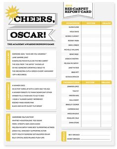 FREE DOWNLOAD | 2012 Oscar Drinking Game and Red Carpet Report Card; fun to do with friends or my love.