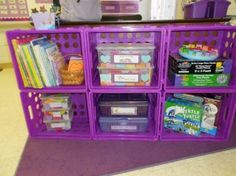 Book shelf, or toy shelf made from these plastic bins found at target, walmart, dollar store