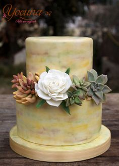 Tarta con Rosa y plantas Suculentas. - Cake with rose and Succulent plants. - by Yocuna @ CakesDecor.com - cake decorating website