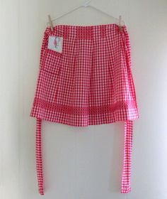 Vintage Apron  Gingham Red   Chicken Scratch Detail  by chrystelle