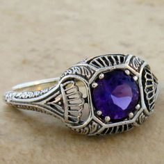 NATURAL AMETHYST ANTIQUE ART DECO DESIGN .925 STERLING SILVER RING SIZE 9, #299