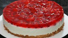 طريقة عمل تشيز كيك الزبادي بالفراولة - Strawberry and yogurt cheese cake recipe