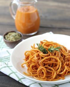 """A Quick Sun-Dried Tomato Sauce with Spiralized Butternut Squash """"Pasta"""""""